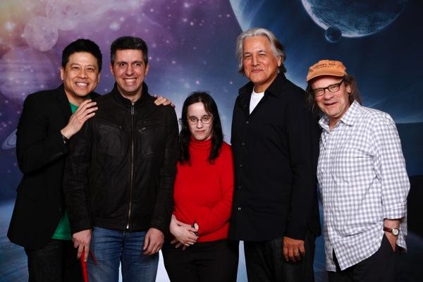 Von links nach rechts, Garrett Wang, ich, Heike, Robert Beltran, Ethan Philips